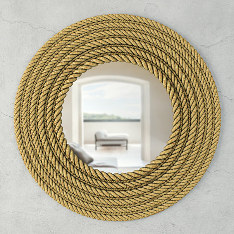 3D large jute wall mirror