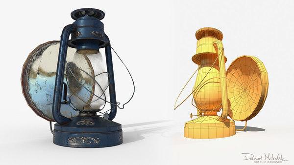 3D model old oil lamp pbr