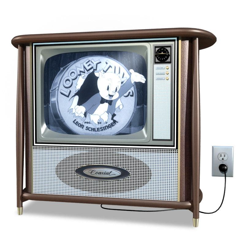 3D vintage television coaxial model