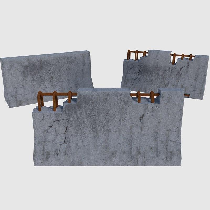 3D model ready concrete road blocks