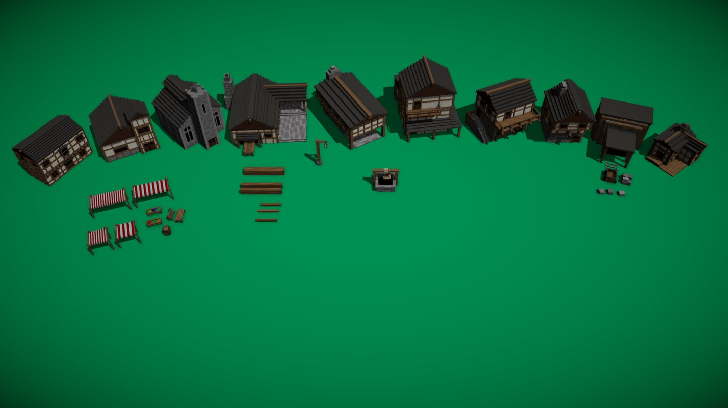 voxel style medieval village 3D