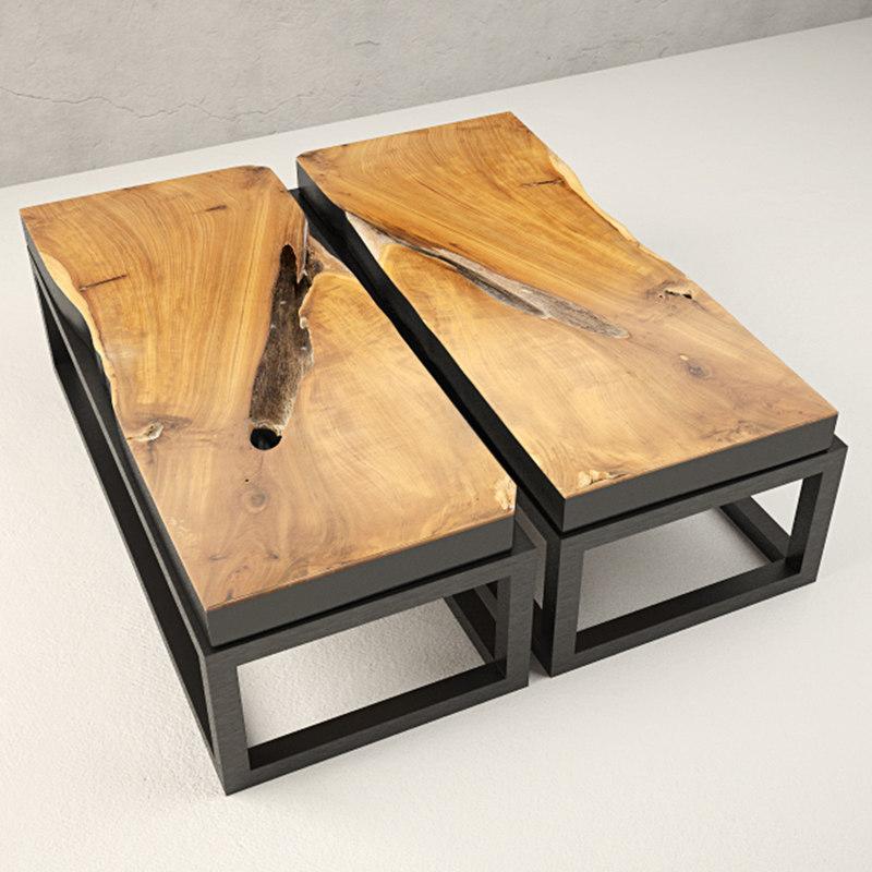 teak coffee table 3D
