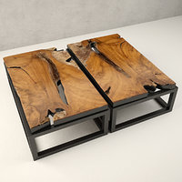 3D teak coffee table