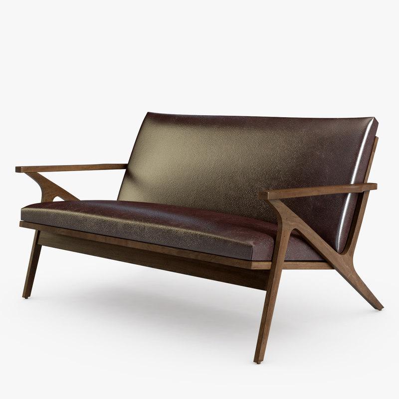 cavett coffee brown leather 3D model