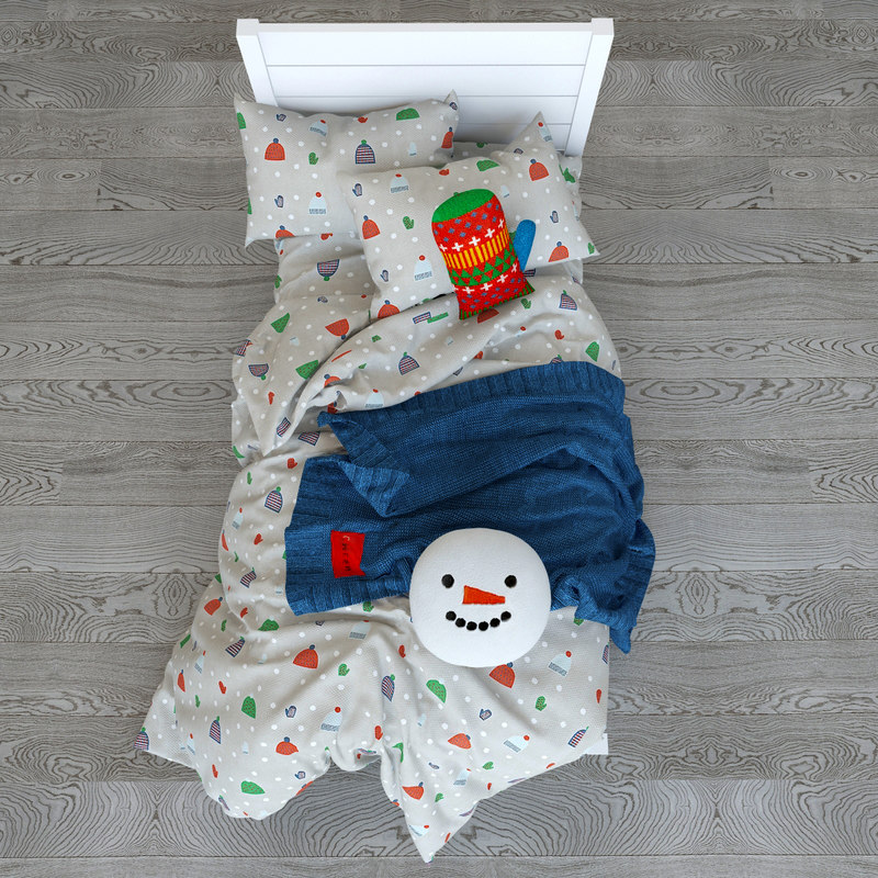 snow day kids bed 3D