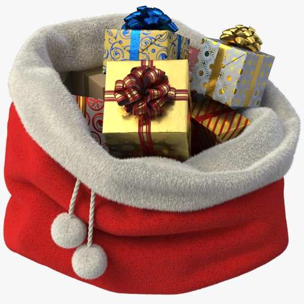 3D model realistic santa s bag