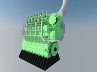 speed marine diesel engine 3D model