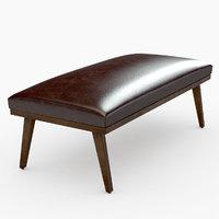 3D cavett coffee brown leather model