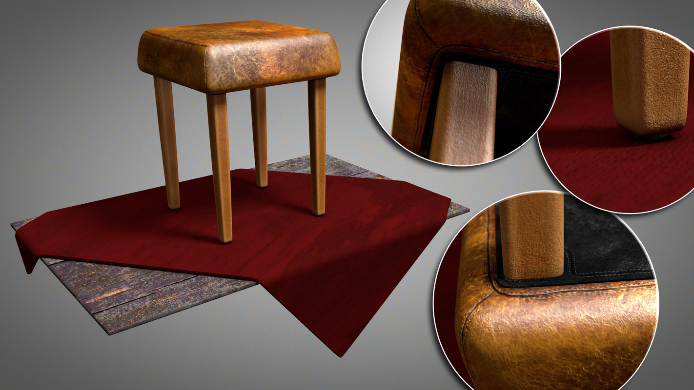 3D model vintage leather stool