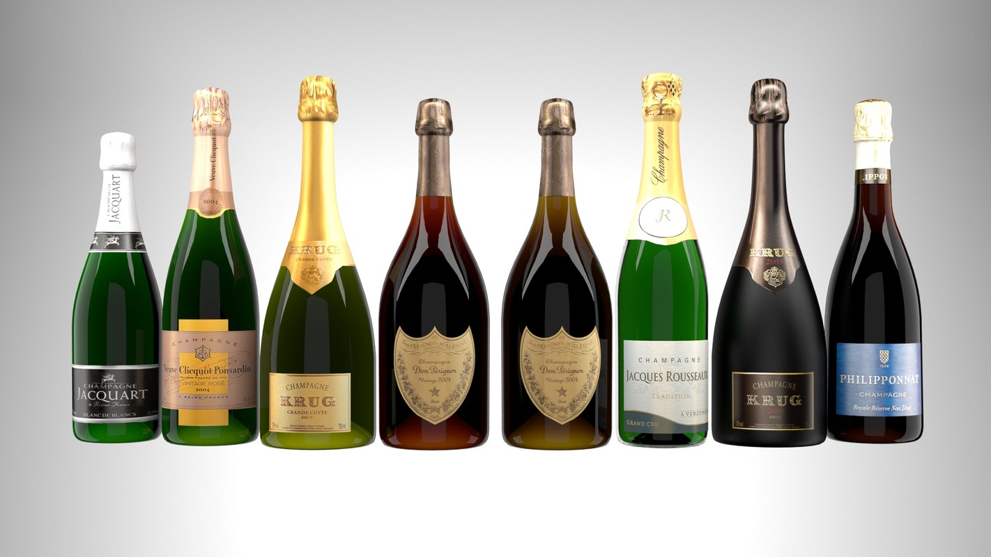 selection champagne 3D model