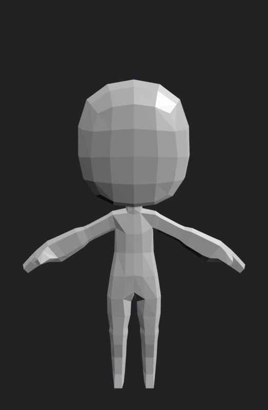 3D character reference rigged model