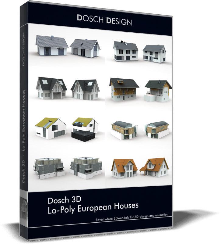 3D lo-poly european houses