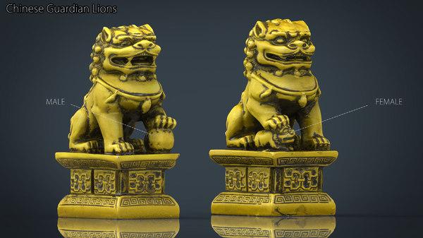 fu lions dogs 3D model