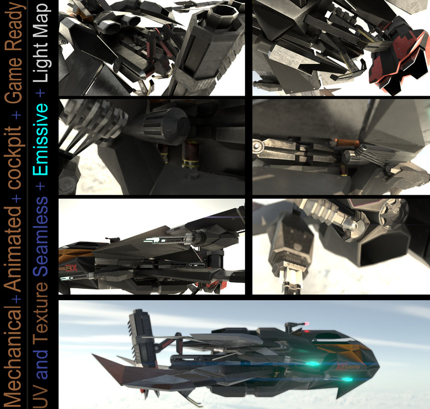 animation space fighter 3D model