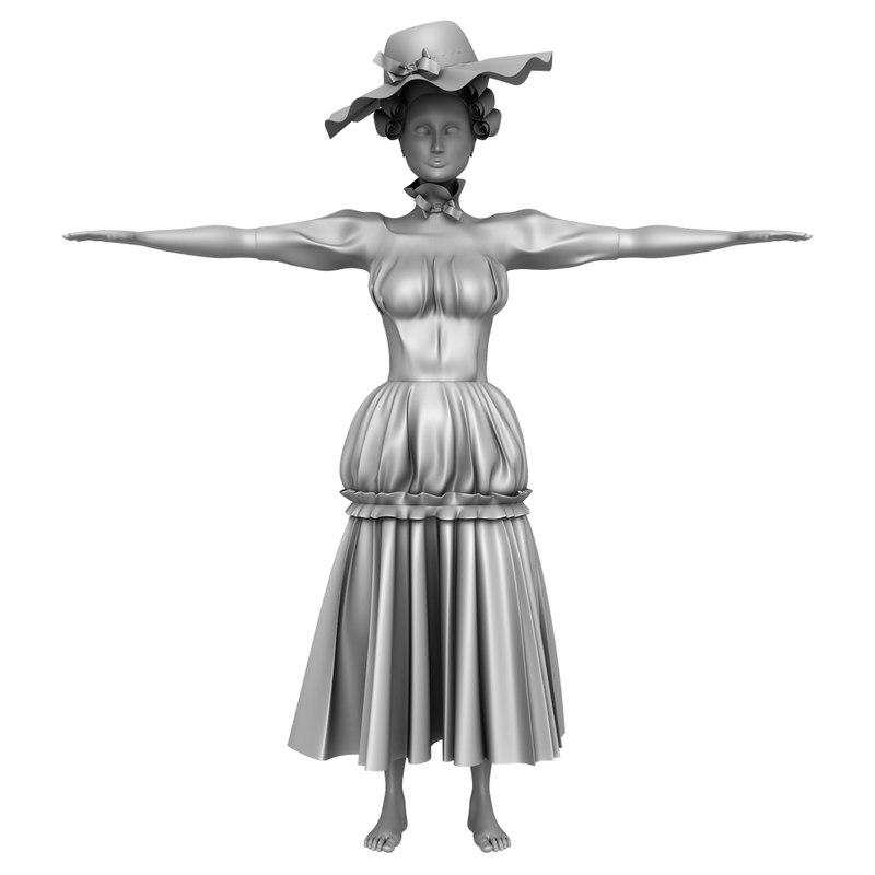 female character 900 s 3D model
