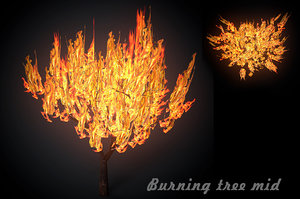 3D burning tree forest