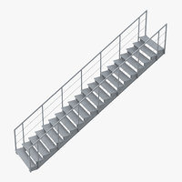 3D industrial staircase straight