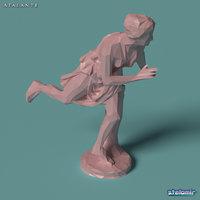 3D atalante statue polygonal model