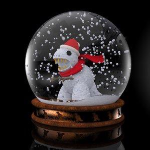 3D dinosaur snow globe model