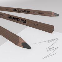 3D model triangle graphite pen