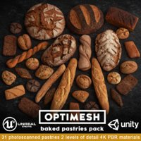 3D pastries pack baked model