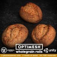 wholegrain rolls pack 3D model