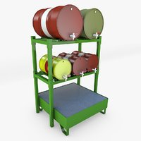 3D oil barrel storage rack model