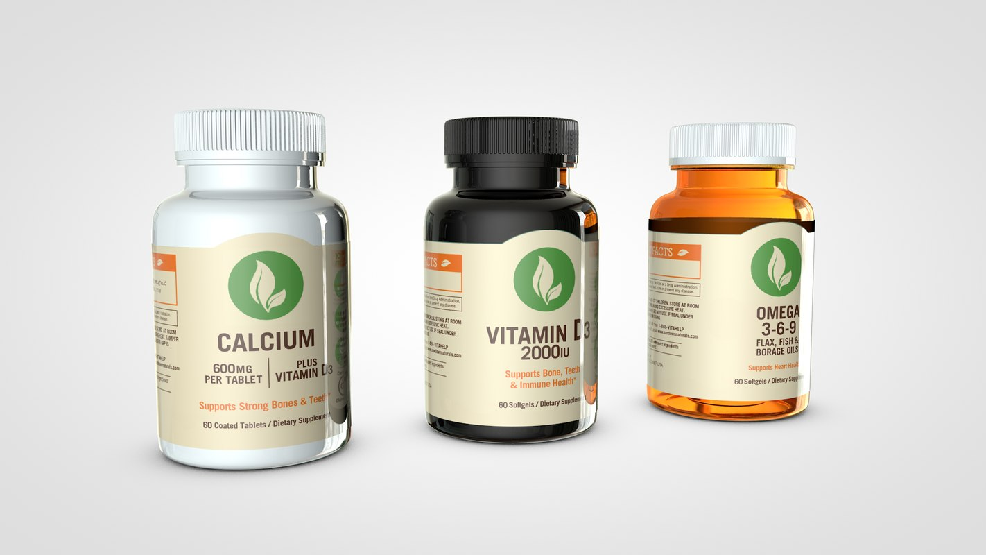 supplement bottles mockup 3D model