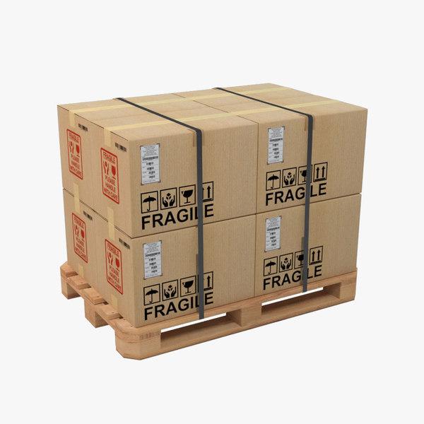 3D model pallet cardboard box