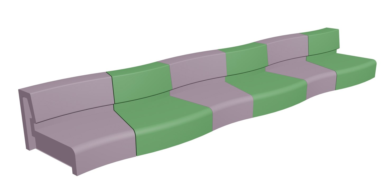3D sofa curved