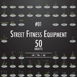 street fitness equipment 01 3D model