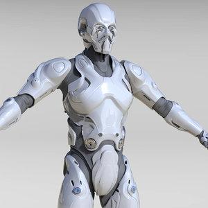 3D cyborg sci-fi character model