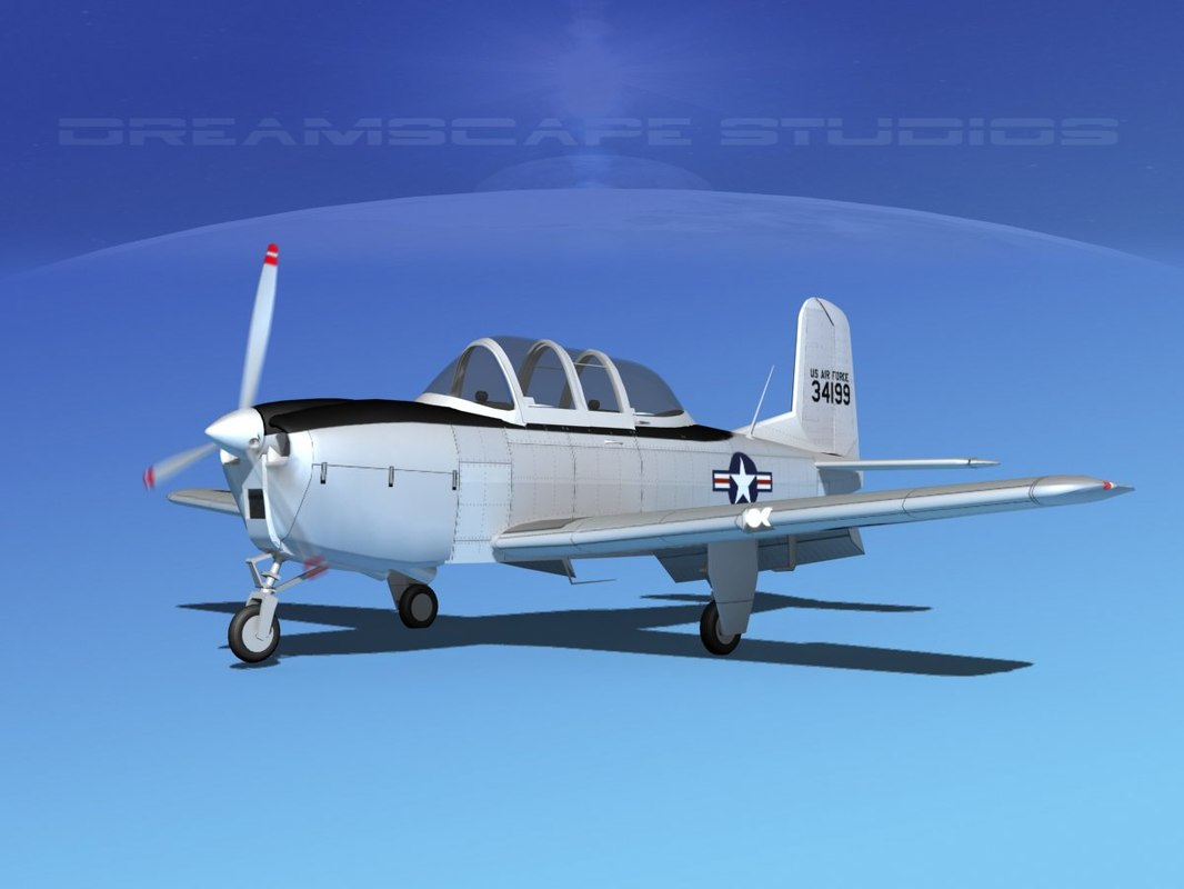 beechcraft t-34 mentor usaf 3D model