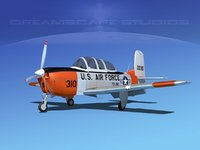 3D beechcraft t-34 mentor usaf model