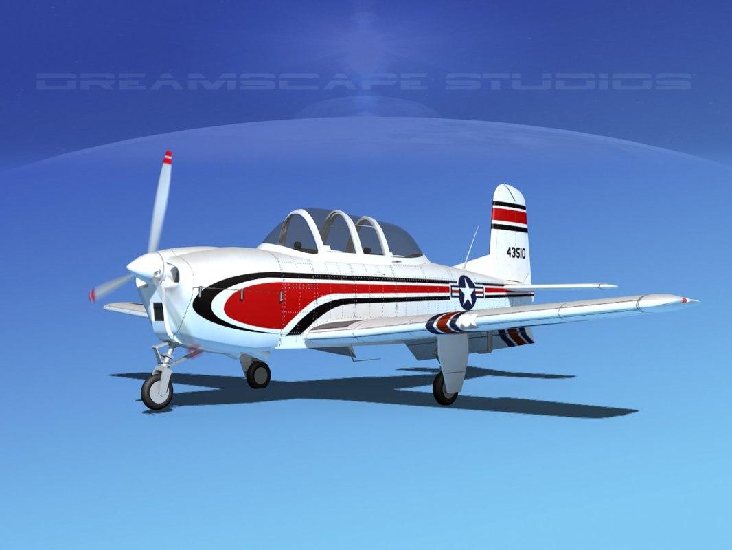 beechcraft t-34 mentor usaf 3D model
