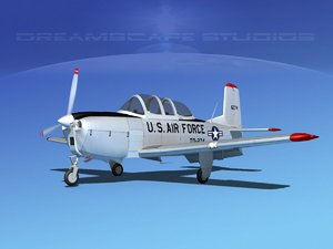 3D beechcraft t-34 mentor usaf model