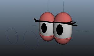 cartoon eye rig 3D model