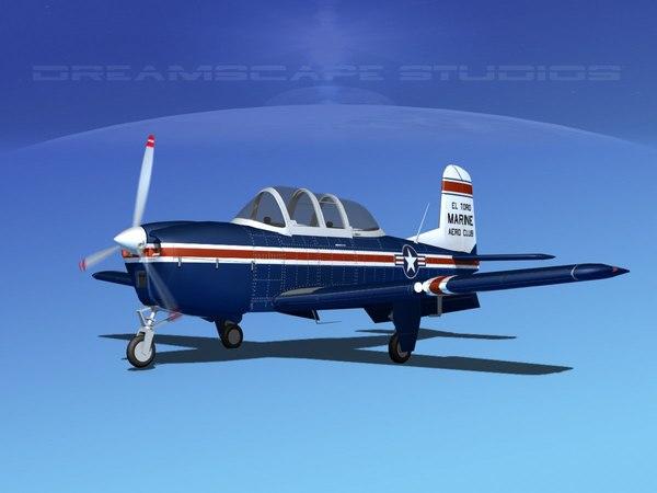 3D beechcraft t-34 mentor usmc model