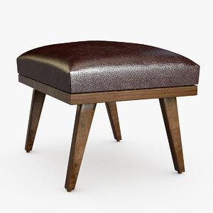 cavett coffee brown leather 3D