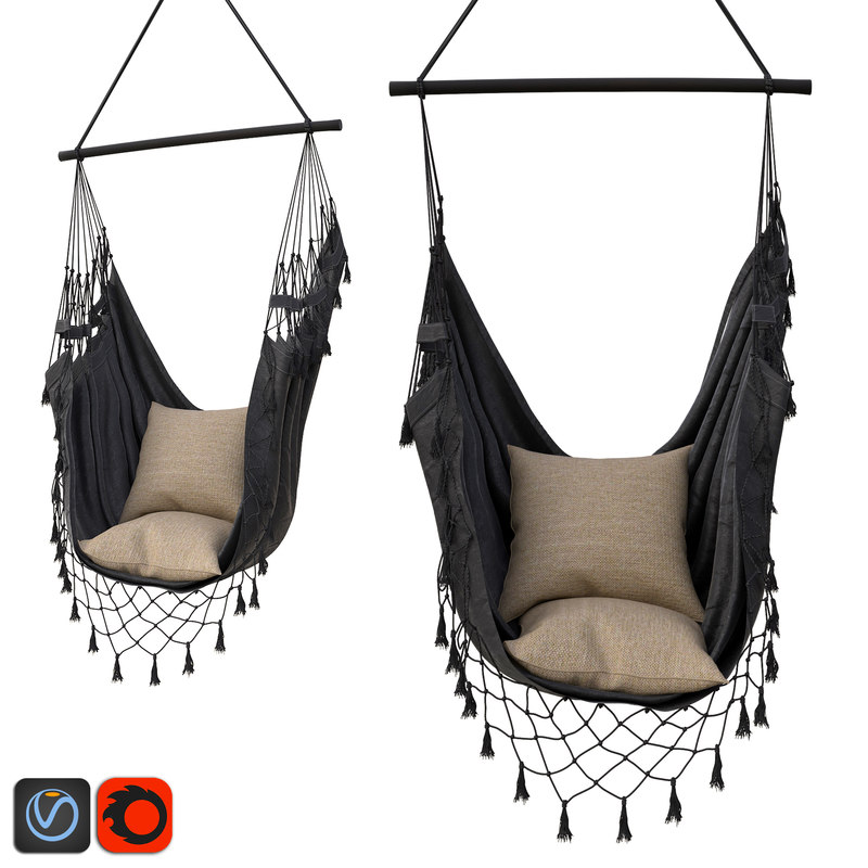 hammock boho charcoal color 3D model