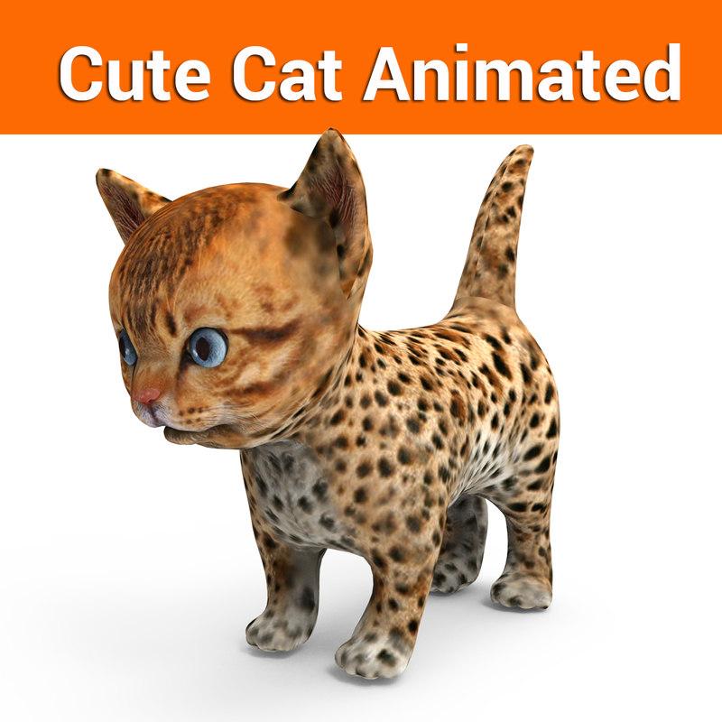 cute cat animation model