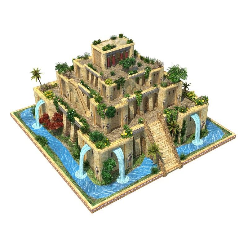 3D hanging gardens babylon model
