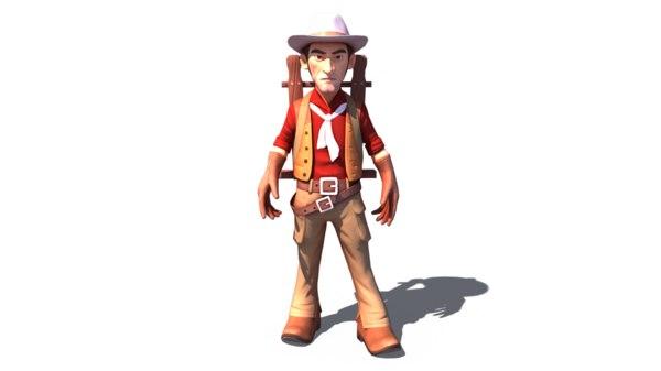3D cartoon man redcap rigged character