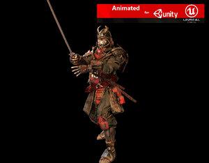 3D samurai rigged character