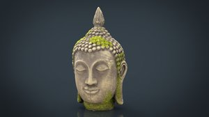 ancient buddha head 3D