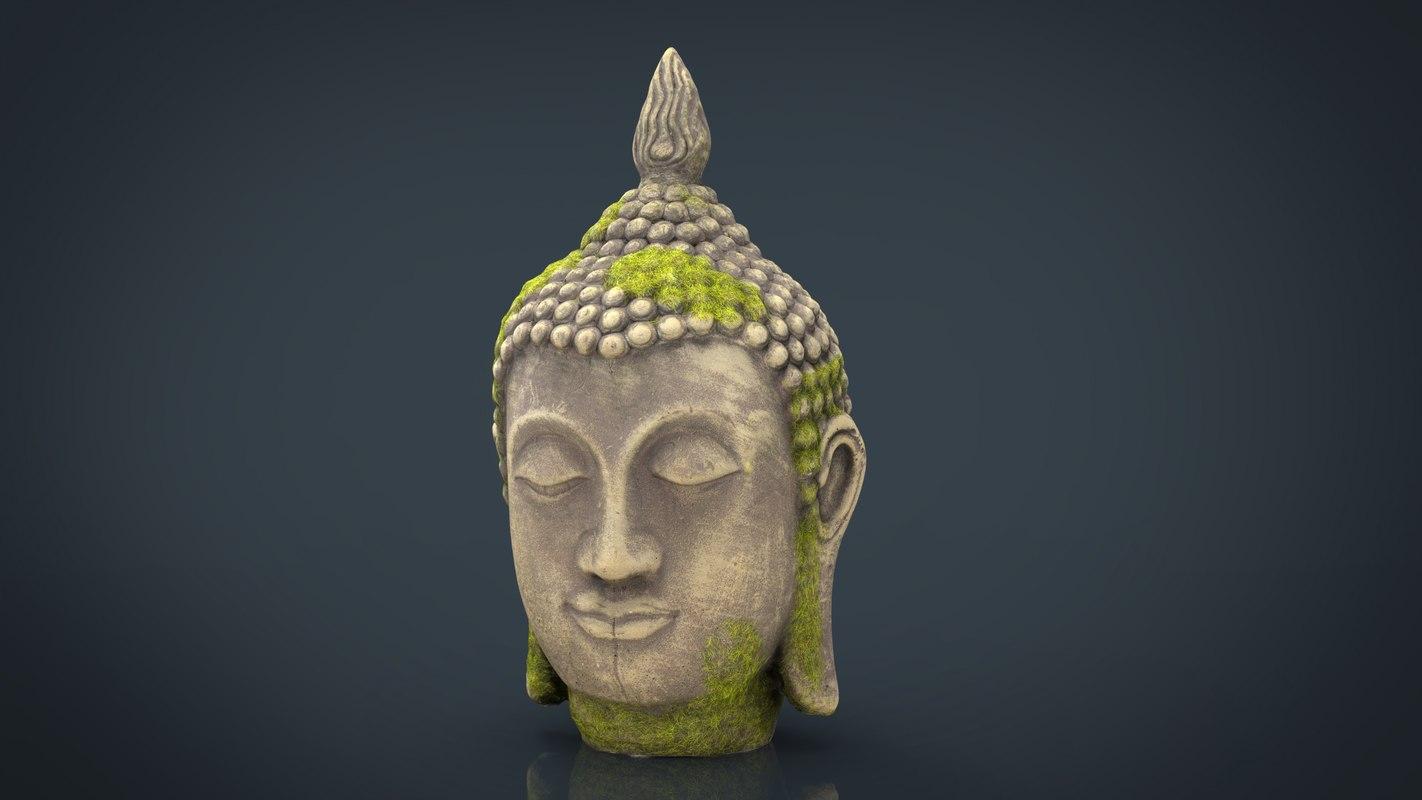 ancient buddha head 3D