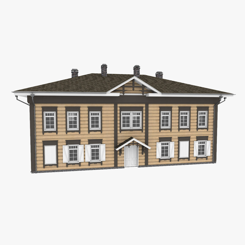 3D historic wood log house model