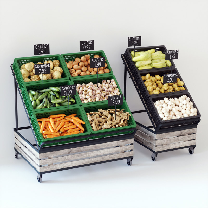 vegetable display racks 3D model