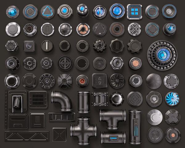sci fi kitbash 3D model