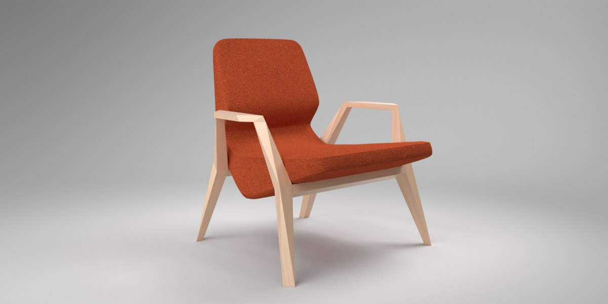 3D interior prostoria oblique orange